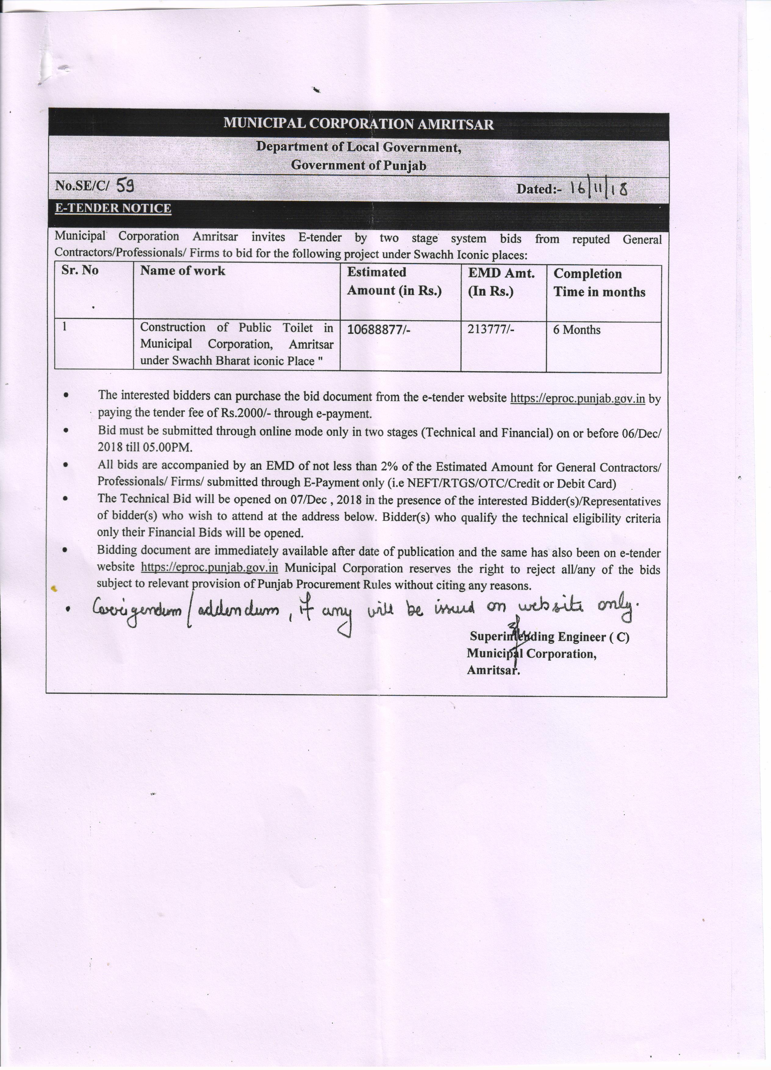 Municipal Corporation Amritsar - Official Website of